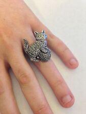 A42 Kitten English Pewter Ladies Ring, Adjustable Handmade in Sheffield