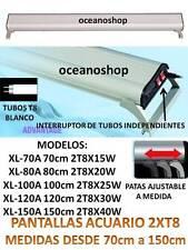 PANTALLA REGULABLE ACUARIO LUZ BLANCA 2 TUBOS T8 70cm 80cm 100cm 120cm 150cm