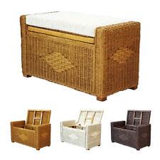 "Bruno Handmade 26"" Rattan Wicker Chest Storage Trunk Organizer Ottoman w/Cushion"