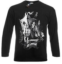 OFFICIAL Game Over Long Sleeve T SHIRT/Reaper/Skull/Card/Poker/Ace/Metal/Rock
