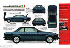 1984/1985/1986 De Tomaso LONGCHAMP SPEC SHEET / Brochure / Catalog / Pix: GTS