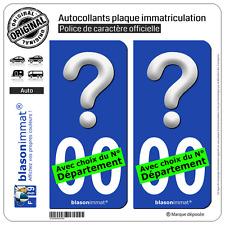2 Stickers autocollant plaque immatriculation Auto : D'où suis-je