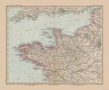 Old World Map - Northwestern France - Stielers  1885 - 27.61 x 23