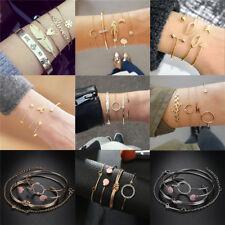 Fashion Women Gold Silver Crystal Cuff Bracelet Bangle Chain Wristband Jewelry