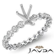 Oval Semi Mount Fine Diamond Engagement Bar Setting Ring 14k White Gold 0.4Ct