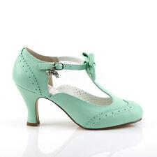 Mint Green Flapper Girl Swing Dancing Ballroom Jive 1940s Shoes Heels size 7 8 9