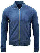 Mens Retro Ocean Blue Goat Suede Leather Bomber Varsity Jacket