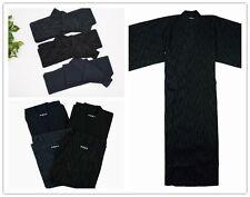 Men Japanese Kimono Yukata Bathrobe Pajamas Belt Cotton Robe Clothing Long