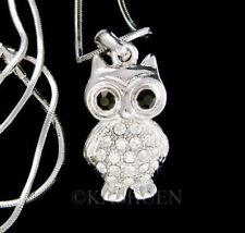 ~Owl~ Night Snow Bird made with Swarovski Crystal Nature Animal Teacher Necklace