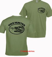 Pike Pesca Pike Trucha Hunter Cazador De Carpa S-XXL Oliva Camiseta Camiseta OV 2 lados