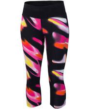 Women's New ASICS Capri 3/4 Leggings Running Tight Fitness Gym Sports - Black