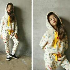 2x Girl Hoodie + Pants Drawstring Top Trouser Candy Printed Sweatsuit Casual Set
