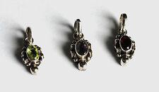 granate, amatista o Peridoto COLGANTE EN ovalschliff y Plata 925