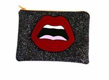 Stylische Handtasche Clutch Partytasche Abendtasche Lippen Pailetten Glitzer Bag