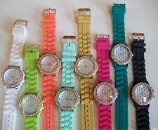 Fashion CROSS Jelly Silicone Rhinestone Girls,Women's Gold Trim Wrist Watches