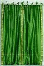 Forest Green  Tie Top  Sheer Sari Curtain / Drape / Panel  - Piece