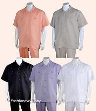 Men's 2pc Walking Suit Short Sleeve Casual Shirt & Pants Set #2963