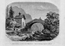 Stampa antica Old Print Strada THONES colle di Aravis Alta Savoia Francia 1860