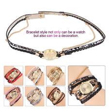 Fashion Women Braid Leopard PU Strap Bracelet Quartz Analog Watch Wristwatch WD