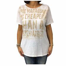 LA FEE MARABOUTEE t-shirt donna mezza manica bianco cotone 7559 MADE IN ITALY