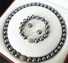 8mm/10mm South Sea Dark gray Shell Pearl Necklace +Bracelet+Earring Set