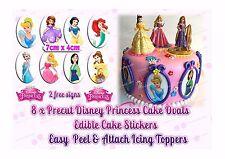 8 x 7CM DISNEY PRINCESS EDIBLE PRECUT ICING OVALS CAKE TOPPERS or CUPCAKE CIRCLE