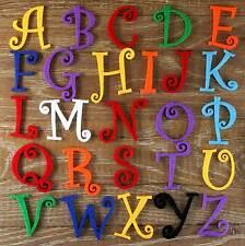 Ensemble alphabet Curlz 3mm feutre majuscules a-z 26 caractères tailles 5-12cm