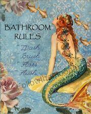 Bathroom Rules Wash brush Red Hair Vintage Mermaid Quality Art Print