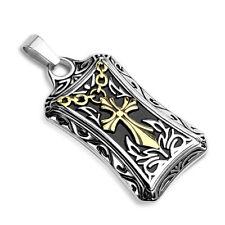 Anhänger 316L Edelstahl Kelten Kreuz Celtic Cross Platte Dog Tag Leder Halskette