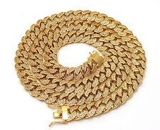 Chain 20, 24, 30 ,38 Inches Lab Diamond Gold Finish Miami Cuban Link