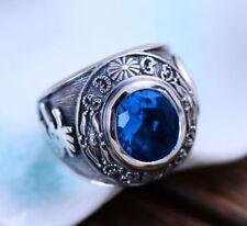 H01 Ring indianische Motive Kokopelli aus Sterling Silber 925 blauer Kristall