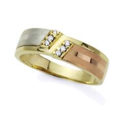 Men 14K Tri-Color Gold Cz Flat Top Satin Finish Wedding Band Ring Free Gift Box