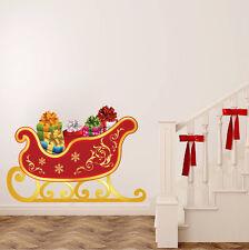 Santa's Sleigh Wall Decal Winter Wall Decor Christmas Window Decorations, h80