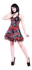 Alternative Punk Goth Rojo Rosa Rosado Cráneo anotó Fiesta Baile de graduación vestido Mini nuevo 8-16