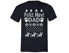 Feliz Navidad Navi Dad - UGLY CHRISTMAS sweater shirt Snowflake T-shirt Black