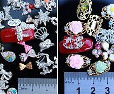 10 x 3D Assorted Rhinestone Hollow Alloy Crystal Bow Tips Nail Art Stud Decor