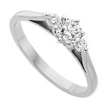 0.50 carat Round Brilliant cut Diamond Trilogy Engagement Ring in 9K Gold