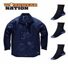 Dickies Fulton Contract Jacket, Waterproof Work Coat Navy FREE SOCKS