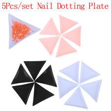 5Pcs Triangle Plate Tray Holder Diy Nail Art Decoration Rhinestone Dotting Pl_sl