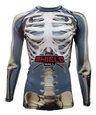ShieldWall Grey Skeleton Unisex Rash Guard Rashvest MMA BJJ -Long & Short Sleeve