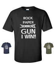 Rock Paper Scissors GUN I Win Funny College 2nd. Amendment Men's Tee Shirt
