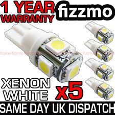 5x 5 LED SMD XENON LAMPADINE LATERALI BIANCHE 501 W5W T10 A PRESSIONE CUNEO 360