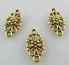 60/500pcs Tibetan Silver/Gold 2-hole Flower Connectors Bail Charms Pendants