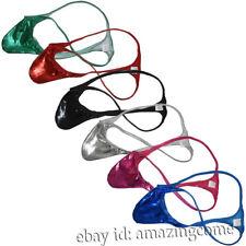Men Micro String Thong Minimal Coverage Underwear Male Shiny Leather Tanga Short