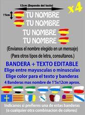 (p001) 4 x BANDERA ESPAÑA NOMBRE EDITABLE PEGATINA VINILO CASCO BTT BICICLETA