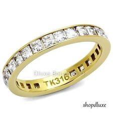 Women's Princess Cut CZ 14k GP Eternity Anniversary Wedding Ring Band Size 5-12