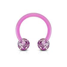 "1 Piece 16g 3/8"" Glitter Circular Barbell Horseshoe Bio Flex Ear Ring 4MM Ball"
