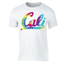 Cali Neon T-shirt California State Tie Dye Rave Party Beach Vacation Tshirt