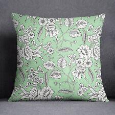 S4Sassy Décoration intérieure Impression florale Light Green Sofa Cushion Cover