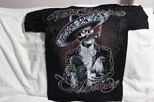 VIVA MEXICO CABRONES SKELETON ROOSTER TEQUILA SMOKING SOMBRERO T-SHIRT